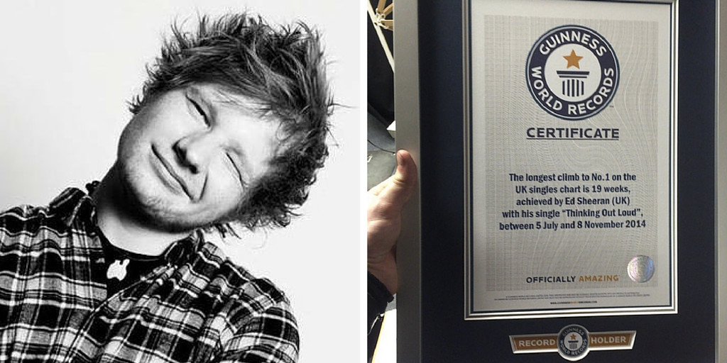 Ed Sheeran enters the Guinness Book of World Records