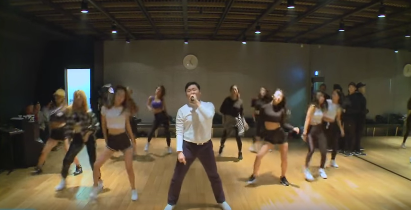 Psy practices his dancing moves